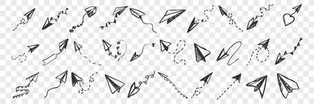 Hand drawnpaper planes doodle set