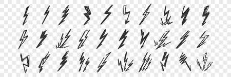 Hand drawn lightning doodle set
