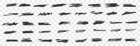 Brush hand drawn scribbles doodle set 向量圖像