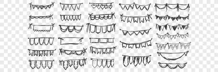 Hand drawn festival flags doodle set