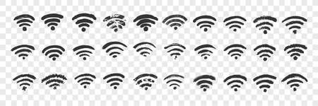 Hand drawn wifi sign doodle set