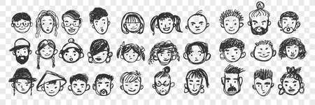 Hand drawn human faces doodle set 向量圖像