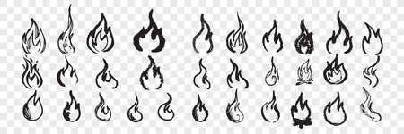 Hand drawn flames doodle set