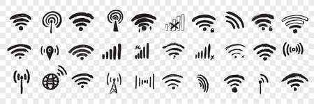 Hand drawn wifi sign doodle set.