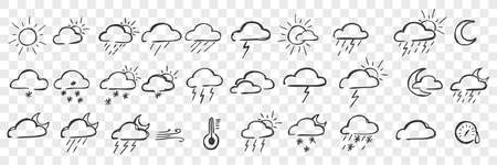 Hand drawn weather conditions doodle set 向量圖像