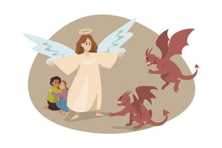 Christianity, religion, protection, devil, care, support concept Illustration