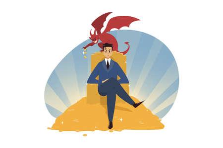 Business, wealth, religion, christianity, success, temptation, evil, devil concept 向量圖像