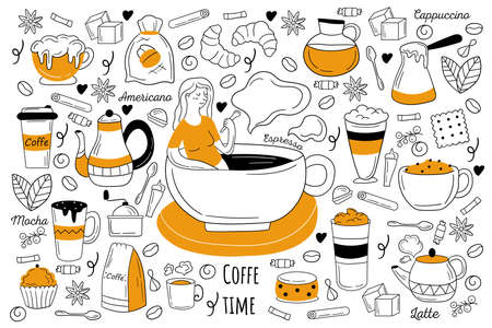 Coffee time doodle set