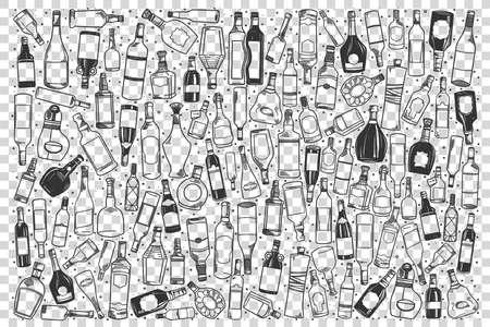 Alcohol doodle set