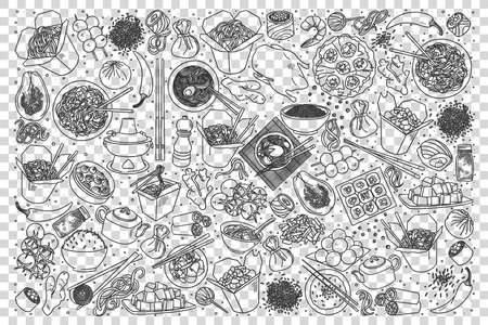 Chinese food doodle set