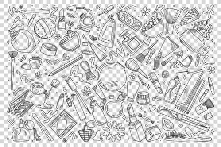 Cosmetics dodle set Иллюстрация