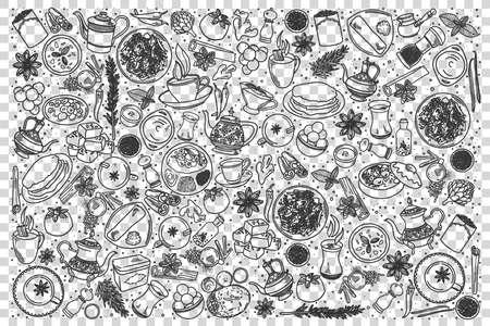 Indian food doodle set
