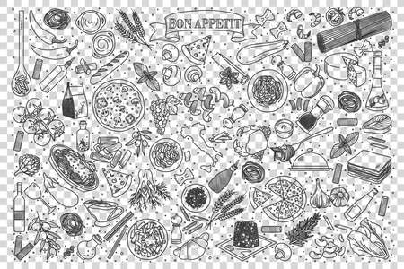Italian food doodle set. Collection of chalk pencil hand drawn sketches templates of italy delicious cuisine pizza spaghetti ravioli on transparent background. Western country meal illustration.