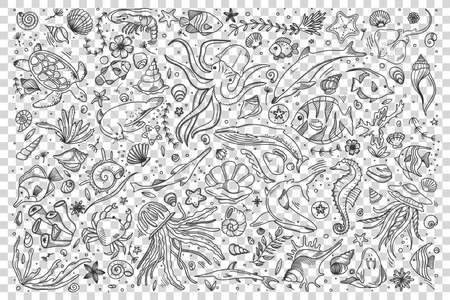 Marine life doodle set. Collection of hand drawn templates sketches patterns of different sea and ocean fish sharks turtles octopus oyster. Animals in wildlife enviroment nature illustration.  イラスト・ベクター素材