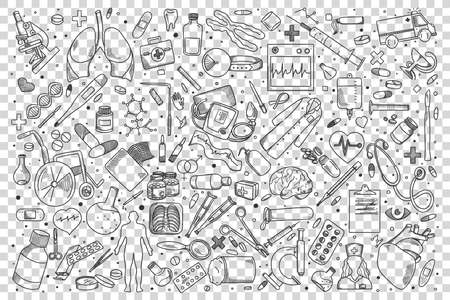 Medicine doodle set. Collection of hand drawn sketches templates patterns of treatment pills syringe pharmacological cure on transparent background. Healthcare and medical support illustration.