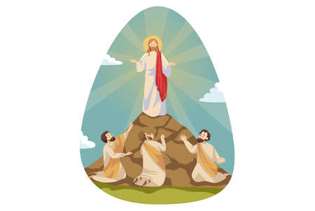 Religion, christianity, Bible concept. Jesus Christ son of God Messiah religious character appearing in front of three loyal disciples on mountain during praying. Transfiguration of Lord illustration.