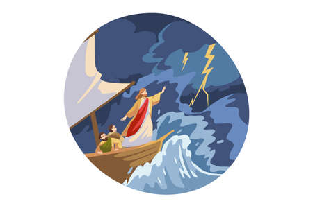 Bible, christianity, religion, protection concept. Jesus Christ son of God biblical religious character protecting ship with sailors from storm lightning thunder waves. Divine support illustration. Vettoriali