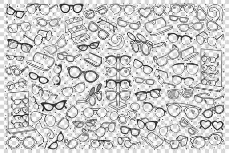 Spectacles doodle set. Colection of hand drawn sketches templates patterns of optician objects sunglasses assortment on transparent background. Eye health and vision illustration.