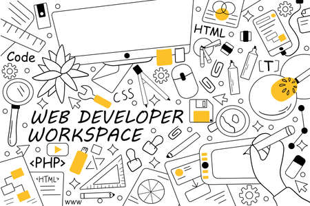 Web developer workspace doodle set. Collection of hand drawn sketches templates patterns of people programmers working equipment computers keyboard laptop. Creative occupation and coding illustration.