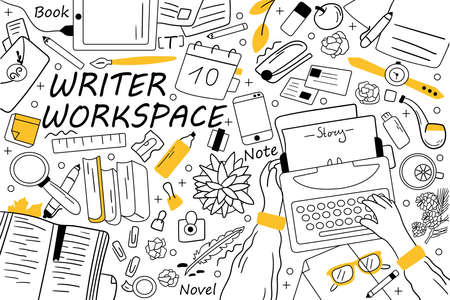 Writer workspace doodle set. Collection of hand drawn sketches templates patterns of writing equipment. Creative occupation and storytelling content book creation illustration 일러스트