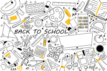 Back to school doodle set. Collection of hand drawn sketches templates patterns of educational equipment books pencil eraser pen for pupils study. Education and getting knowledge illustration. Illusztráció