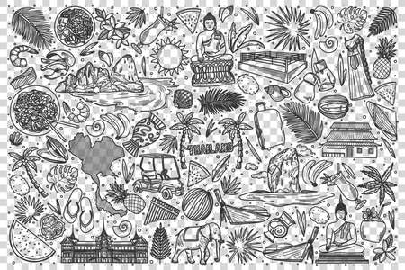 Thailand doodle set. Collection of hand drawn sketches templates of thai culture architecture and national cuisine on transparent background. South eastern country tratidions illustration.