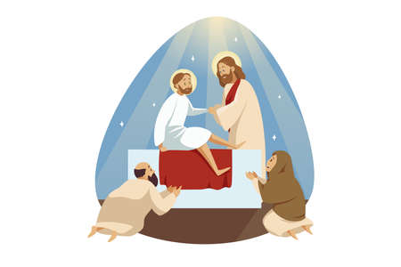Lazarus resurrection, bible, religion, christianity concept. Jesus Christ son of God biblical character Messiah prophet makes miraculous ascension of dead man. Catholic religious holiday illustration.