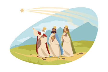 Feast of three kings, religion, bible, chritianity concept. Young men tsars Caspar Melchior Balthasar following star of Bethlehem carrying gifts gold incense and myrrh. Epiphany and catholic holiday.