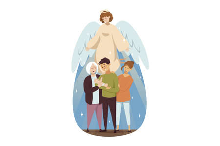 St. Josephs day, religion, bible, christianity concept. Angel biblical religious character watches at family man dad woman mother granny with young baby child. Catholic orthodox holiday or Fathers day