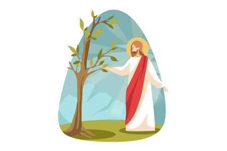Religion, bible, christianity concept. Jesus Christ son of God Messiah prophet biblical religious character making dried dead tree to blossom. Divine support and miracle resurrection illustration. Ilustrace