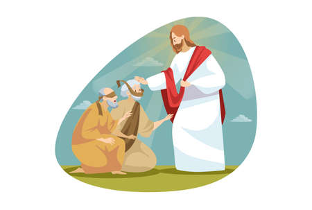 Religion, bible, christianity concept. Jesus Christ son of God biblical character makes miraculous healing of blindness. Messiah takes vision to blind people back by touching him. Divine help and blessing. Vecteurs