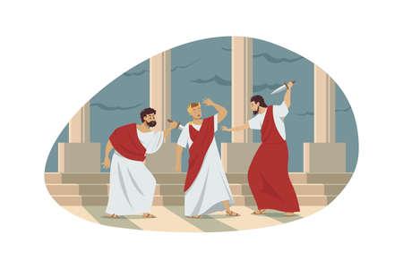 Rome, history, conspiracy, assassination concept. Ancient Roman historical event illustration. Group of murderers assassins senators conspirators traitors kill emperor Gaius Julius Caesar with knives.