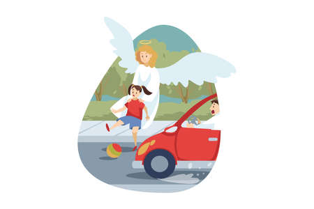 Christianity, religion, protection, rescue, care, support concept. Angel biblical religious character saving young child kid girl from car accident death. Divine support and health care illustration. Vecteurs