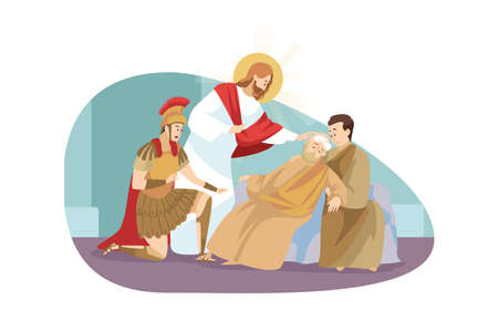 Religion, bible, christianity concept. Jesus Christ son of God Messiah prophet biblical character makes miraculous healing of unconscious old man by touching him. Divine help and blessing illustration