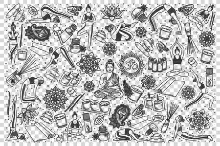 Yoga doodle set. Collection of hand drawn templates patterns sketches of meditation poses exercises and body or mental health relaxation symbols illustration. Healthy lifestyle illustration. Ilustração