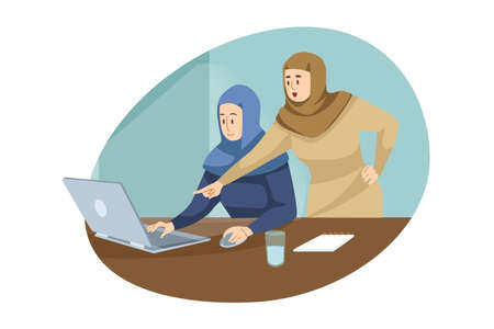 Teamwork, coworking, business, analysis, meeting concept. Team of muslim arab businesswomen managers colleagues boss employee working in office. Collective discussion and brainstorming illustration.
