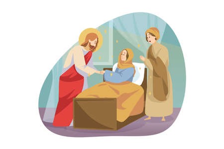 Religion, bible, christianity concept. Jesus Christ son of God Messiah prophet biblical character makes miraculous healing of sick ill woman girl by touching. Divine help and blessing illustration.