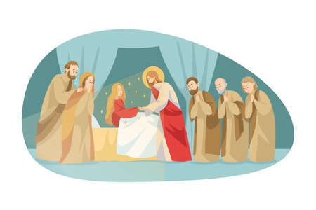 Religion, bible, christianity concept. Jesus Christson of God biblical character Messiah gospel makes miraculous ascension of dead wman girl by touching. Divine miracle help and blessing illustration.