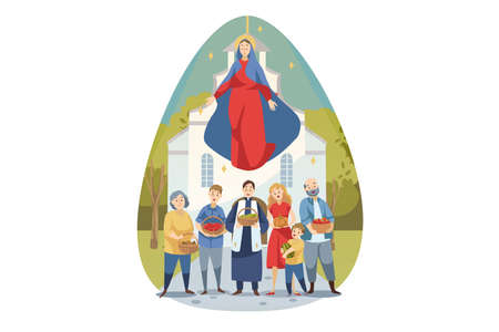 Religion, bible, christianity concept. Young Maria mother of Jesus Christ protecting caring about people christians parish with food vegetables. Assumption of Mary ascension celebration illustration.