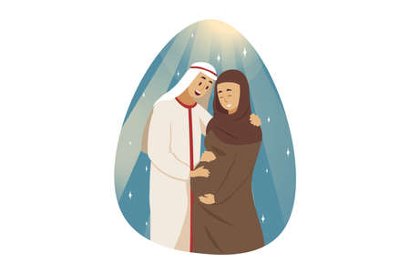 Love, couple, pregnancy, family concept. Young happy man muslim boyfriend husband standing with smiling pregnant woman wife girlfriend arab with hijab hugging together. Mothersday and motherhood. Illustration
