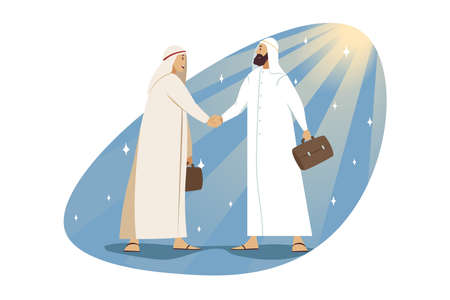 Success, contract, meeting, business concept. Young happy businessman muslim cartoon character signing contract with arabic colleague and handshaking. Job employment and making deal congratulation. Illustration