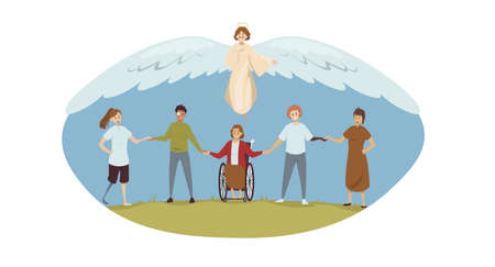 Protection, disability, support, religion, christianity concept. Angel biblical religious character protecting young happy handicapped injured disabled people men women. Divine help and healthcare. Illustration