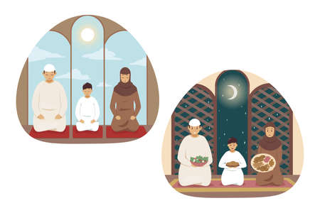 Islam, prayer, family, religion set concept. Collection of young religious man muslim husband woman wife child kid son arabic characters praying in mosque. Islamic traditional Ramadan celebration.