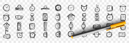 Watches doodle set. Collection of hand drawn templates sketches patterns of male female hand pocket timers and clocks on transparent background. Fashionable lifestyle and shopping illustration.