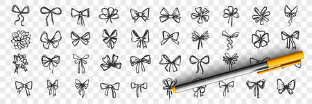Hand drawn bows doodle set. Collection of pen pencil drawing sketches of decorative birthday holiday ribbons isolated on transparent background. Illustration of wedding celebration decoration symbol. Illustration