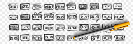 Hand drawn audio tapes doodle set. Collection of pen ink pencil drawing sketches template patterns of music video cassette on transparent background. Illustration of playing record devices.