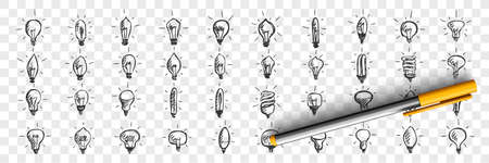 Light bulbs doodle set. Collection of hand drawn pencil sketches template patterns of lamps enlightment devices on transparent background. Illustration of idea and creative thinking symbols. Vectores