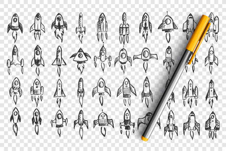 Rockets doodle set. Collection of hand drawn pencil sketches template patterns of spaceships in cosmos on transparent background. Illustration of business startup and creative thinking.