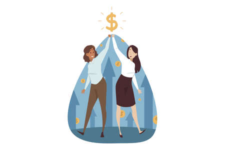 Success, teamwork, goal achievement, business concept. Team of young happy smiling businesswomen clerks managers holding dollar sign above together. Successful investment and money profit illustration Illustration