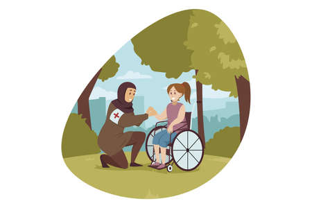 Volunteering, medicine, disability, health, care concept. Arabic muslim woman volunteer in hijab in holding hand of young disabled handicapped girl patient. Social medical support or help illustration